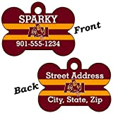 Arizona State Sun Devils Double Sided Pet Id Dog Tag Personalized With 4 Lines of Text
