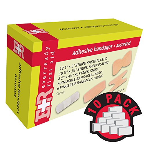 Ever Ready First Aid Adhesive Bandages, Sheer Plastic, Assorted, In Kit Unit Box, 40's, 10 Count (Plastic Adhesive Unit Box Bandage)