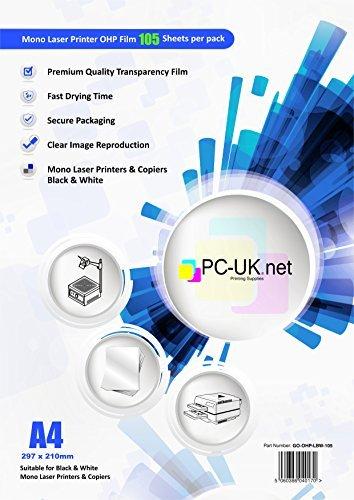 PC-UK.NET - Lucidi trasparenti in acetato formato A4 per proiettore, compatibili con stampanti mono laser bianco e nero e fotocopiatrici, confezione da 100 fogli + 5 extra
