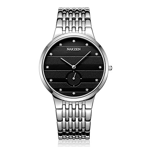 NAKZEN Mens Luxury Chronograph Business Japanese Quartz Wrist Watches with Stainless Steel 38MM Date Waterproof Analog Watch
