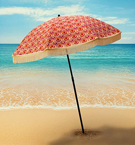 Beach Brella Thalia Beach Umbrella, with Fringe and Shoulder Strap Bag, 100% UV Sun Protection, Lightweight, Portable & Easy to Setup in The Sand and Secure in The ()