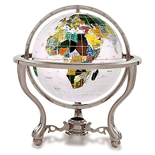 KALIFANO 6 Gemstone Globe with Opal Opalite Ocean and Antique Silver Commander 3-Leg Table Stand by Alexander (Opal Silver Globe)