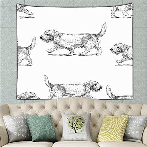 Terriers on Stroll Animals Wildlife Animal Background Animals Wildlife Tapestry Wall Hanging, Wall Tapestry with Art Nature Home Decorations for Living Room Bedroom Dorm Decor 50ʺ × 60ʺ