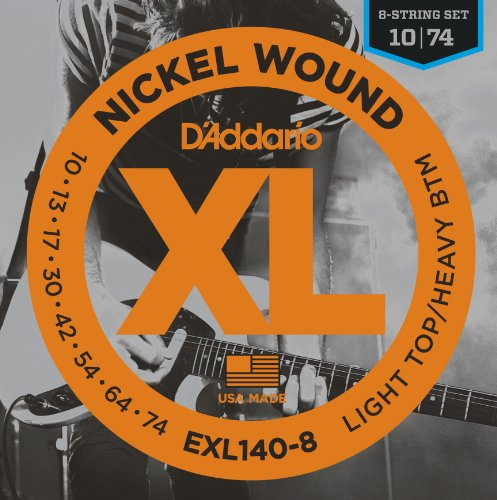 D'Addario XL Nickel Wound Electric Guitar Strings, Light Top/Heavy Bottom, 8 String Gauge - Round Wound with Nickel-Plated Steel for Long Lasting Distinctive Bright Tone and Excellent Intonation - 10-74, 1 Set