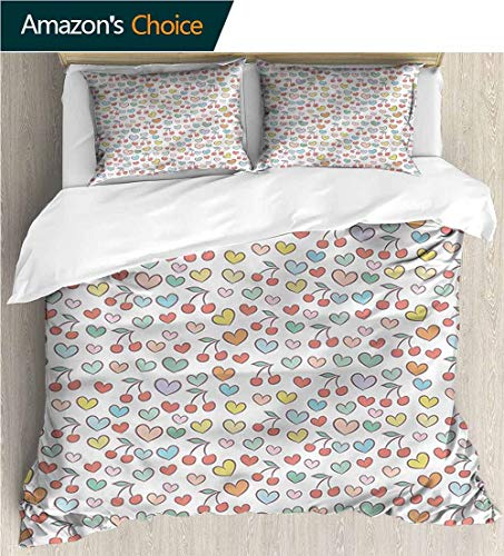 Doodle Cherry - Bedding Sets Duvet Cover Set,Box Stitched,Soft,Breathable,Hypoallergenic,Fade Resistant Bedspreads Beach Theme Quilt Cover Children Comforter Cover-Hearts Colorful Doodle Cherries (80