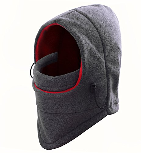 Kedera Full Face Mask Cover Winter Warm Skull Cap Outdoor Windproof Polar Fleece Earflap Hat for Skiing Riding (Gray)