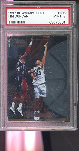 1997-98 Bowman's Best #106 Tim Duncan ROOKIE MINT PSA 9 Graded Card Bowmans (Bowmans Best Football Box)