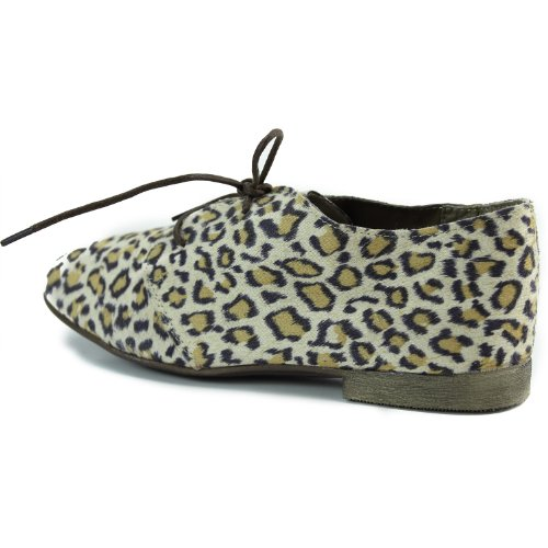 Womens Breckelles Sandy-21 Animal Prints Laced Up Oxford Fashion Shoes Leopard H5EmByQ2I