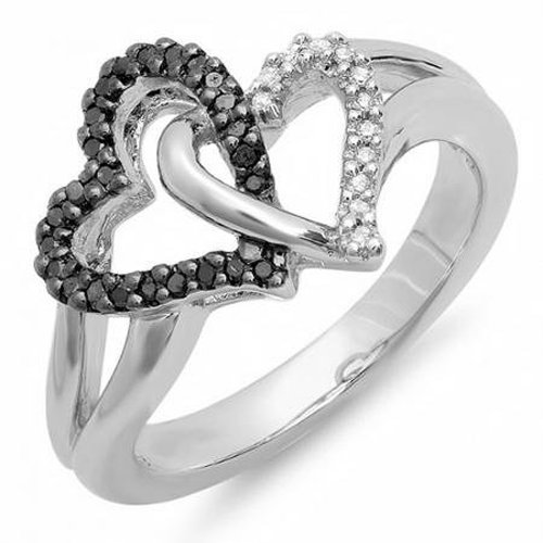 0.25 Carat (ctw) Sterling Silver Round Black & White Diamond Ladies Tangled Double Heart Love Promise Ring 1/4 CT (Size (0.25 Ct Double Heart)