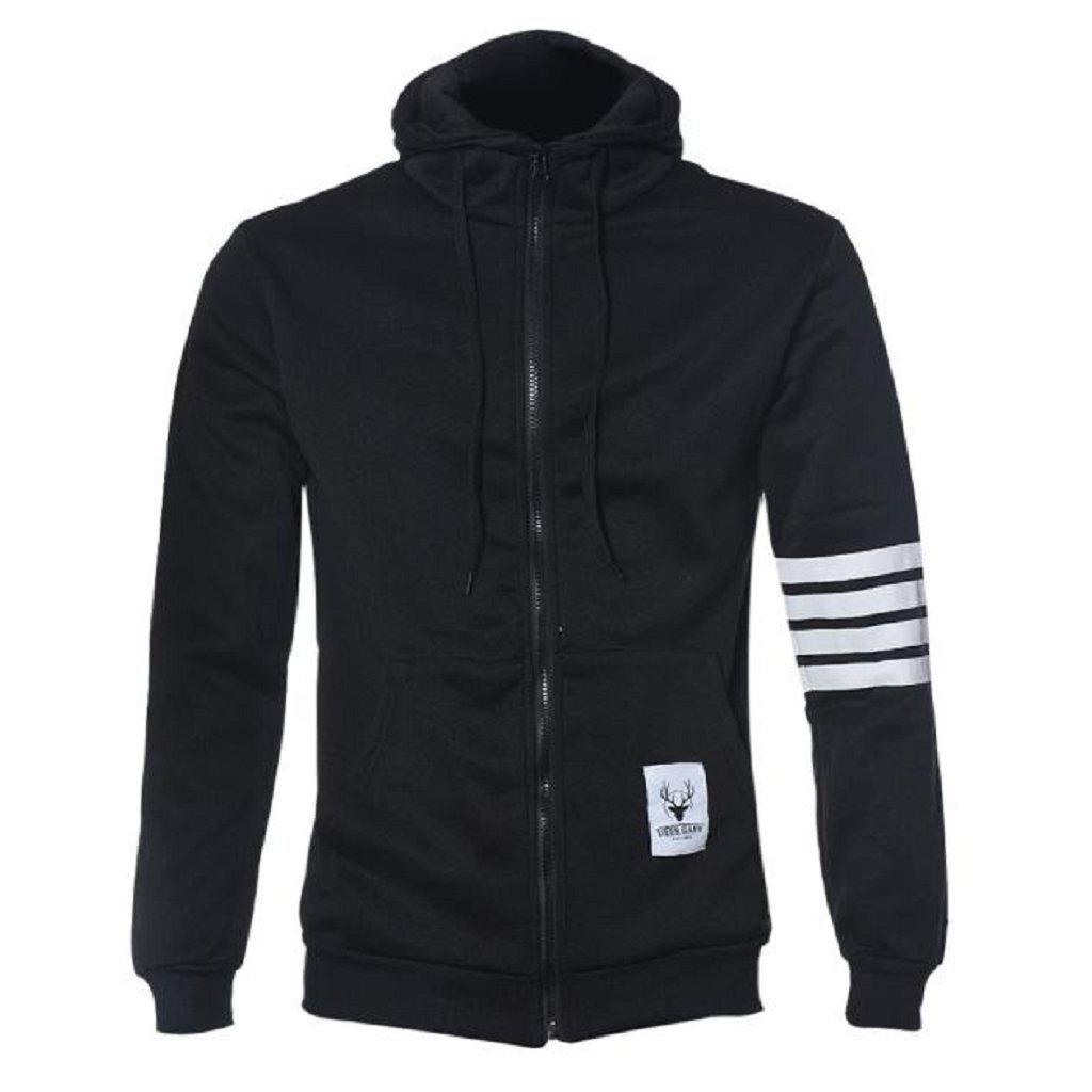 L, Black Men Jackets,Laimeng Men Sweatshirt Hoodie Casual Zipper Hooded Jackets