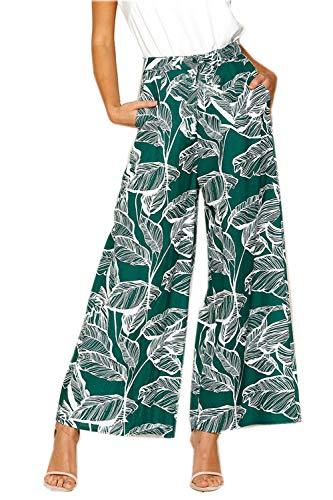 Pantalons Casual Bohème Asskdan Motif Longue De Vert Vacances Femme Lâche Pantalon H5q5apw