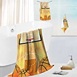 Luxury Bath Towel Collection Set Court Ball and Hoop Madness Rim Court Parquet Hardwood Print Ivory Orange Black Machine Washable, Super Soft 19.7''x19.7''-13.8''x27.6''-31.5''x63''