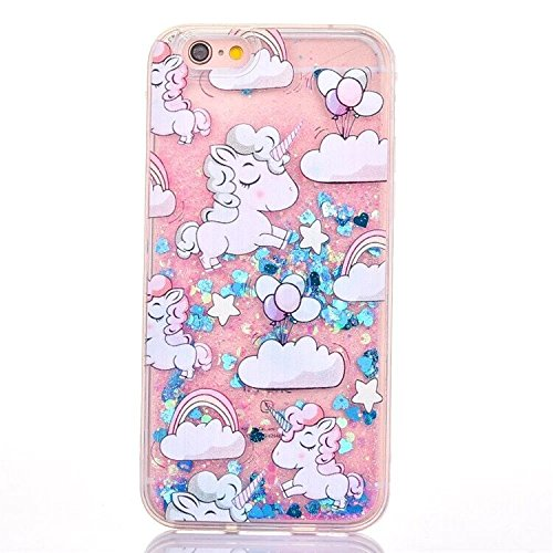 iPhone 6 Plus/6S Plus Case,Blingy's New Cool Flowing Liquid Glitter Style Plastic Hard Case for Apple iPhone 6 Plus/6S Plus (Pink/Blue Cartoon Unicorn)