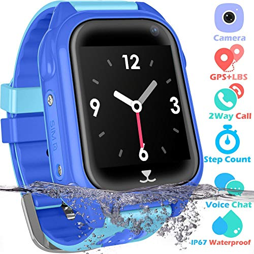 Kids Smart Watch Phone Waterproof Smartwatch Boys Girls GPS Tracker Watch 1.44'' HD Screen 2 Way Call SOS Voice Chat Alarm Clock Game Camera Children Wrist Watch Gifts