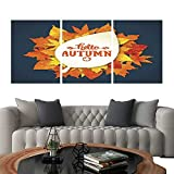 UHOO Prints Wall Art PaintingsAutumn Season Banner Greeting Card with Text and Hand Drawn Watercolor Fall Leaves 1. Customizable Wall Stickers 12'x16'x3pcs
