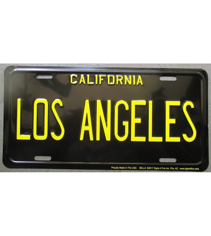 Placa de matr/ícula de Los /Ángeles ecrit en Amarillo sobre Fondo Negro hotrodspirit Chapa de Estados Unidos