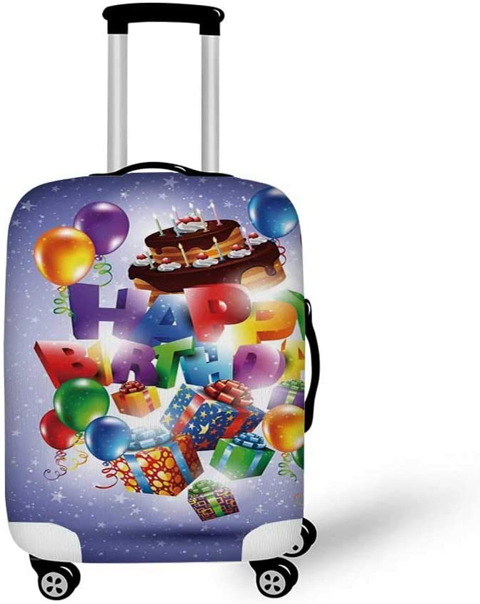 26.3W x 30.7H Birthday Decorations Stylish Luggage Cover,Sincere Greeting Message on Blur Background Celebration for Luggage,L