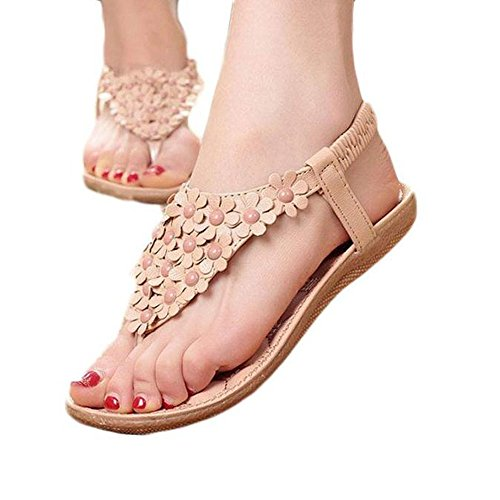 WINWINTOM Women's Sandals Fashion Summer Bohemia Beaded Sandals Clip Toe Sandals Beach Sweet Shoes Herringbone Flat Shoes Khaki 7NG5cQ3TY
