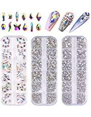 FITDON Nail Rhinestones Set, Multi-shapes Glass Crystal AB Rhinestones & Crystals AB Nail Art Rhinestones & Clear Nail diamond for Nail Decoration DIY Jewel Charms Accessories Supplies