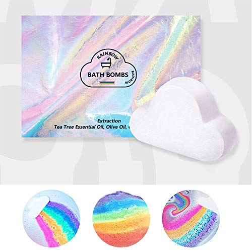 Rainbow Bath Bombs Gift Set - Handmade Fizzies for Women. Rainbow Cloud SPA Bath Bombs (1pc-Rainbow)