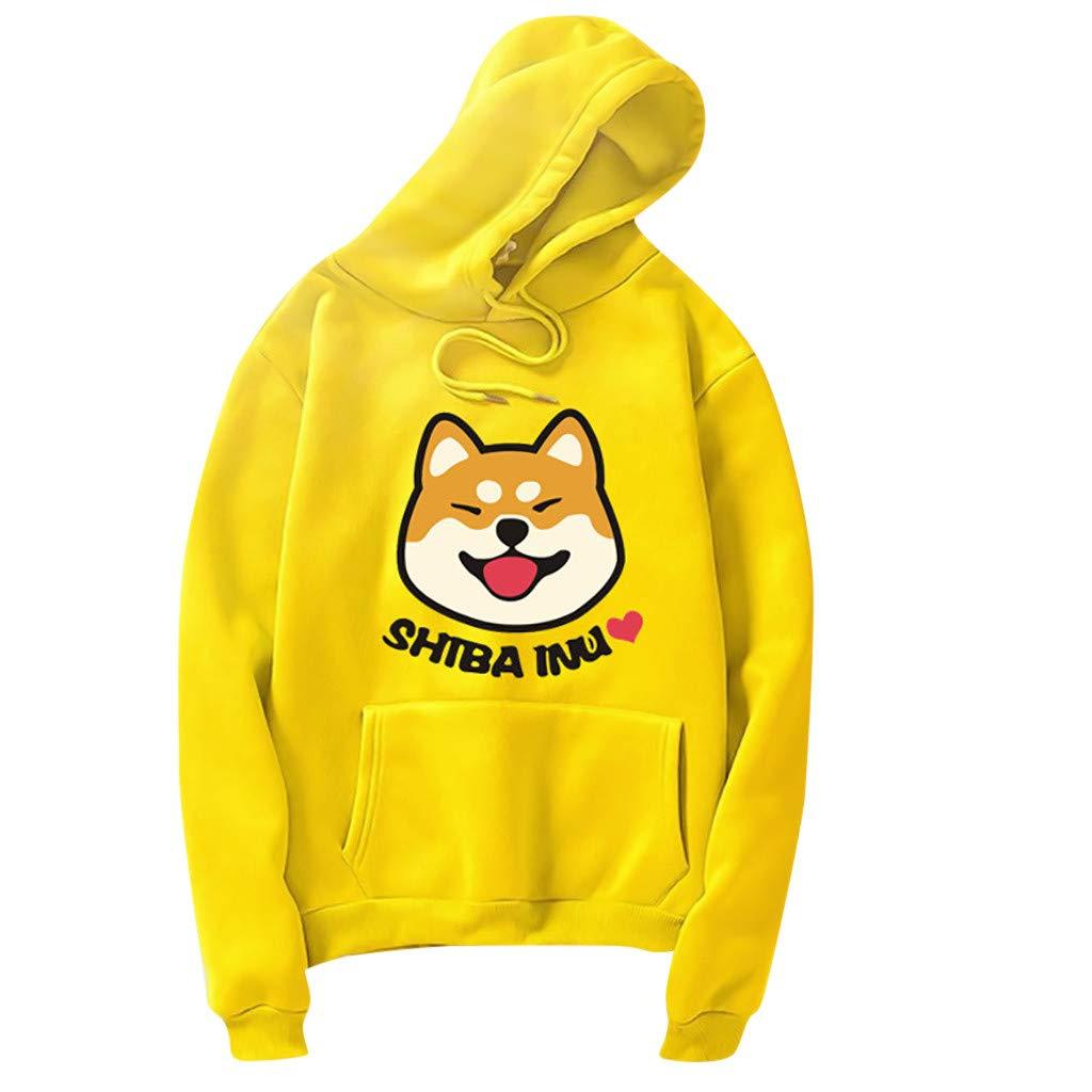 2019 Sweat /à Capuche Femme Mode Shiba Inu Dessin Anim/é Imprim/é avec Poche Sweatshirt Manches Longues Loisir Pull T-Shirt Tops Chemisier pour Printemps Automne Hiver