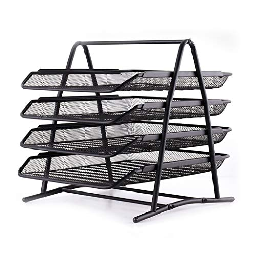 Jinxin-Office Products Mesh 4 Tier Document Paper File Storage, Letter Tray, Desk Organizer, Black 293532cm