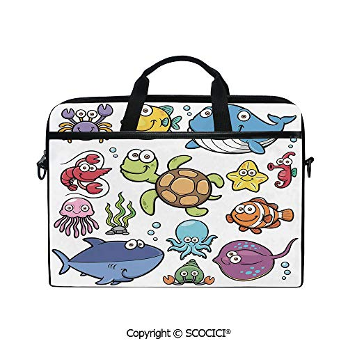 Laptop Sleeve Notebook Bag Case Messenger Shoulder Laptop Bag Ocean Animals Collection Cheerful Swimming Clown Fish and Puffer Fish Shrimp Artwork with Handle and Extra Side Pockets