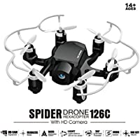 FQ777 126C Mini RC Quadcopter Drone with 2MP HD Vedio Camera 2.4Ghz 4CH 6-axis Gyro Remote Contro Headless Mode&One-key Return Function Spider Mini Drones Arerial UAV for Beginners(Black)