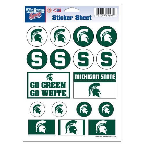 Wincraft Ncaa Michigan State University Vinyl Sticker Sheet  5  X 7