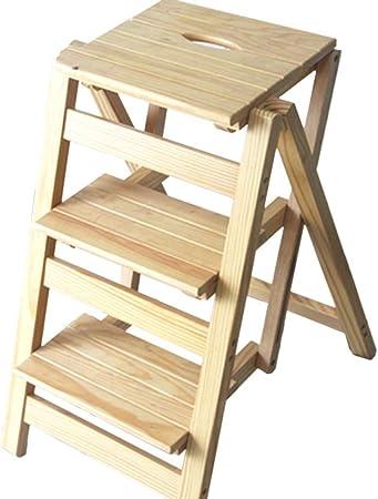 GBX Fácil y cómodo taburete plegable Paso, La escalera plegable - Pequeña Escala de madera 3 Planta Escalera plegable - Escalera plegable Escalera Portátil - Inicio de jardín Biblioteca Cocina, tabur: Amazon.es: