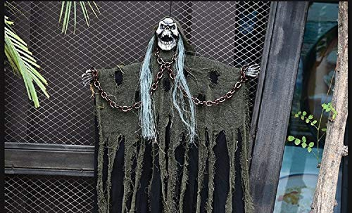 (Halloween Voice Chains Skeleton Decor Hanging Ghost for Party Bar Decoration Props-41x23inch-White-Yellow-Green (Green))