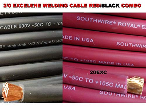 100' 2/0 EXCELENE WELDING CABLE 50 FT RED & 50 FT BLACK USA MADE 105 EPDM JACKET