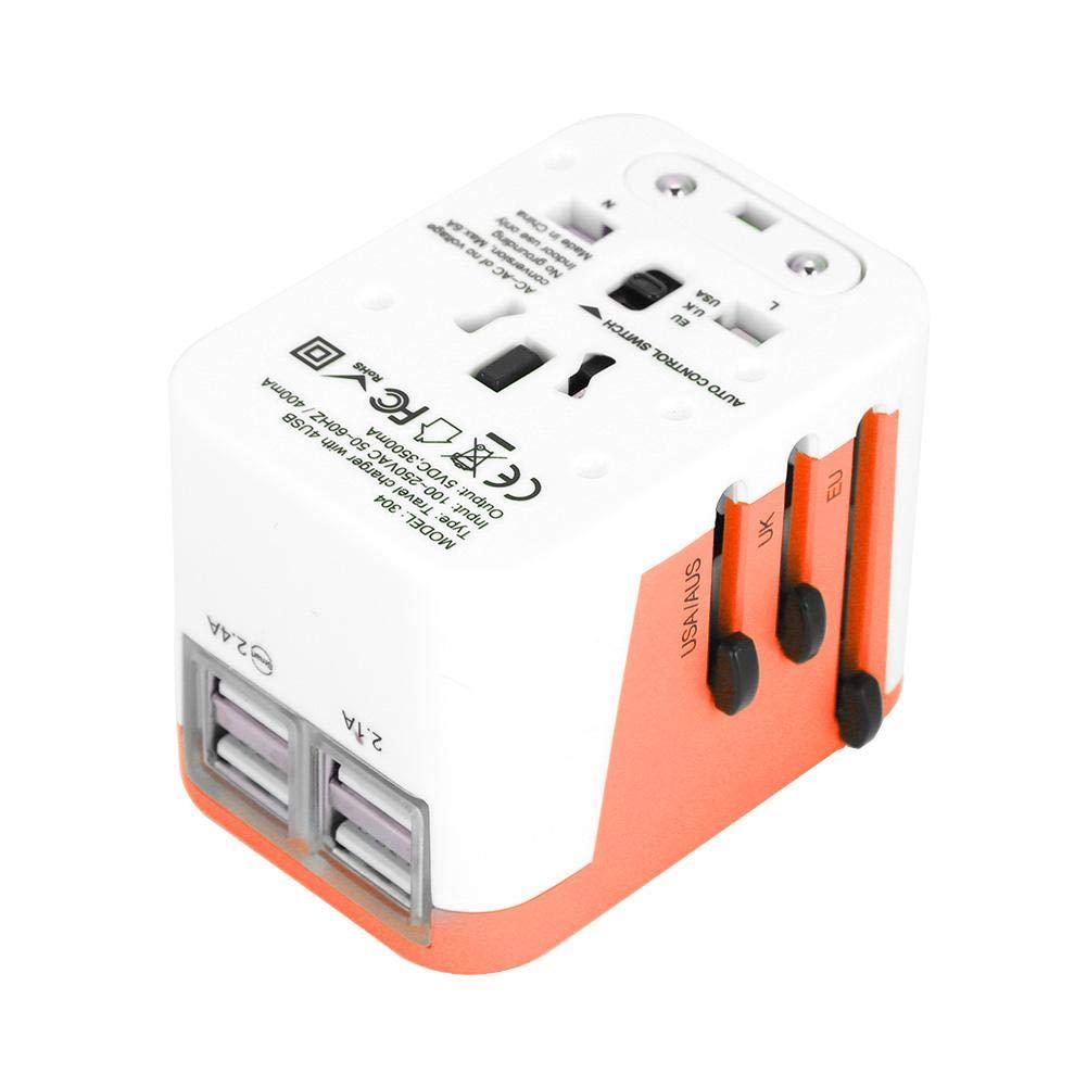 Fdit International Travel Adattatore da Viaggio 4 Caricatore da Muro USB Caricabatterie da Viaggio Presa di Corrente Universale CA Internazionale Alimentatore AC Spina da Parete Adatto(Blu)