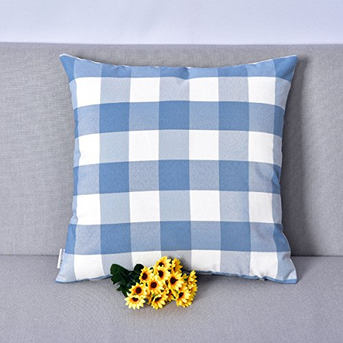 NATUS WEAVER Blue & White Buffalo Check Plaid Decorative Toss Pillow Case Cushion Cover for Chair,22 inches x 22 inches (55 cm) ()