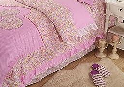 YOYOMALL Cartoon Duvet Cover Set for Teen Girls,Princess Bow-knot Ruffle Bedding Sets,Pink/Blue Sheet Sets Full Queen Size (Full, Pink)