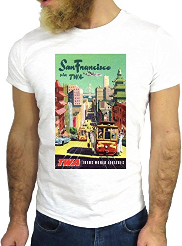 T SHIRT JODE Z3471 TWA SAN FRANCISCO CALIFORNIA USA FLYING PLANE VINTAGE NICE GGG24 BIANCA - WHITE L