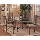 5 Pc Metal And Glass Dining Room Table Set In A Bronze Finish