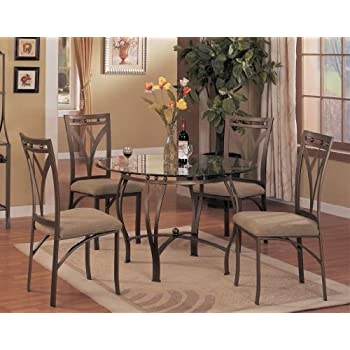 5 pc metal and glass dining room table set in a bronze metal finish - Metal Kitchen Table
