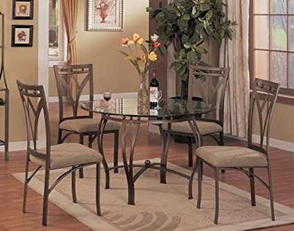 5 Pc Metal And Glass Dining Room Table Set In A Bronze Metal Finish