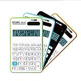 KSUNSEVEN 12 Digit Large Display Calculator Solar Battery LCD Display Office Calculator Electronic Desktop Calculator Black Blue Green Orange Business Gift (Color : Black)