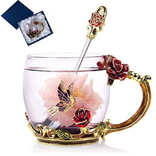 Gift Elegant Box Wedding (NBWUYUE Mother's Day Gifts For Mom Tea Cup Coffee Mug Cups Clear Glass With Spoon Set Unique Rose Flower Enamel Design Valentine's Day Birthday Decoration Wedding Gift (Box Short Red))