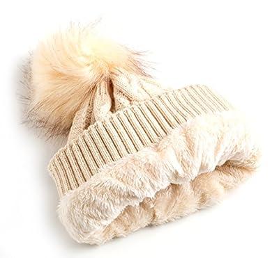 Newbee Fashion - Women Winter Soft Knitted Beanie Hat Faux Fur Pom Pom Beanie Hat With Warm Fleece Lined Thick Skull Ski Cap Stylish & Warm