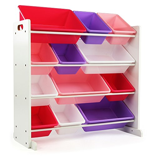 (Tot Tutors Kids' Toy Storage Organizer with 12 Plastic Bins, White/Pink & Purple (Friends Collection) )