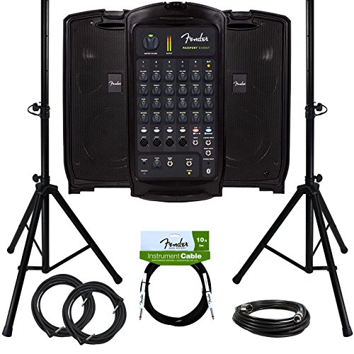 Fender Passport Event Portable PA System Bundle with Compact Speaker Stands, XLR Cable, and Instrument Cable