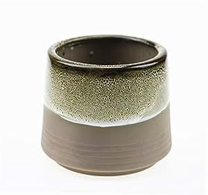 sindbin, base de café de cerámica que fluye esmalte marrón y profundo 3Serie Set jarrón suculentas macetas, de cerámica maceta cactus flower pot