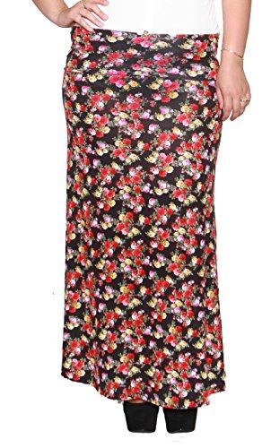 Libian Jr Plus Size Floral Maxi Skirt (1X, BLACK)