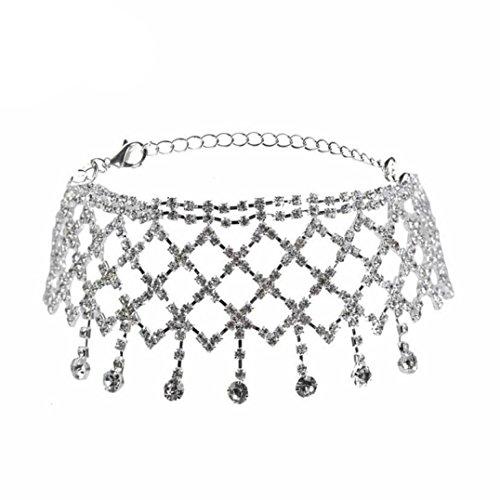 Beuu Full Drill Fringed Multi-Layered Choker Necklace Women Punk Style Alloy Crystal Rhinestone Golden Chain (Silver)