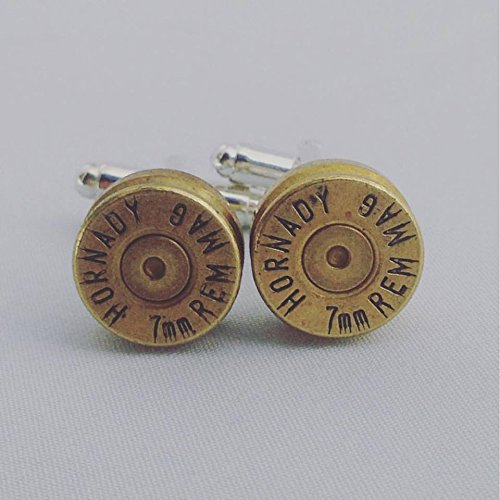 Hornady 7mm MAG Bullet Shell Cufflinks - WIN Brass Bullet Casing Cuff links with Primer (Hornady 7mm Bullets)
