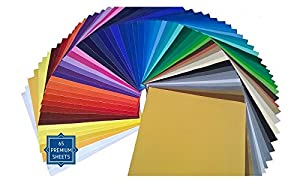 "PrimeCuts 65 SHEETS 12"" x 12"" Premium Permanent Self Adhesive Vinyl Sheets - 65 Glossy Assorted Colors Sheets for Craft Cutters, Cricut, Silhouette Cameo Machines & Crafting Machines"