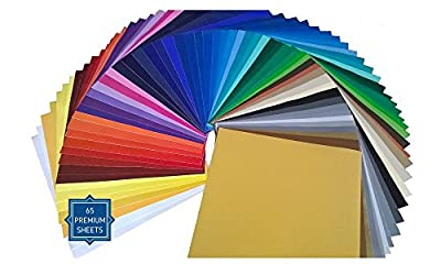"""PrimeCuts 65 SHEETS 12"""" x 12"""" Premium Permanent Self Adhesive Vinyl Sheets - 65 Glossy Assorted Colors Sheets for Craft Cutters, Cricut, Silhouette Cameo Machines & Crafting Machines"""